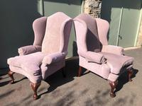 Pair of Antique English Upholstered Wing Armchairs (7 of 10)