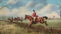'The Fox Hunt' Original Vintage Country Sporting Pursuit Oil on Canvas Painting (7 of 17)