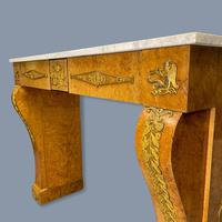 French Burr Walnut & Marble Top Console Table (2 of 14)