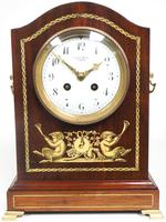 Incredible Solid Mahogany Cased Mantel Clock with Bone Inlay by James Weir (10 of 10)