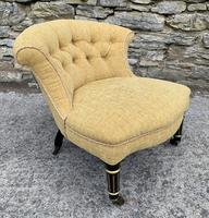 Small Antique Victorian Upholstered Salon Chair (11 of 17)