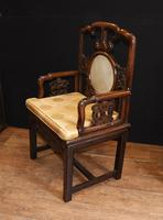 Pair Antique Chinese Armchairs Hardwood 19th Century Seat Chair (11 of 13)