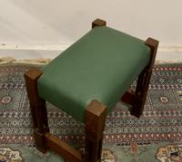 Stylish Arts and Crafts Oak and Leather Stool (5 of 6)