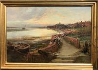 'bosham at Sunset' Oil Painting by C.j.lewis RI Circa 1880