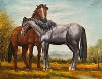 Original Signed 20th Century Vintage Horse & Foal Equestrian Oil on Canvas Painting (8 of 10)