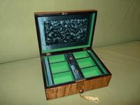 Satinwood & Mahogany Jewellery Box. Plush Interior. c1860. (6 of 11)