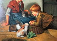 Huge Stunning 20thc Oil Portrait Painting Of 2 Children Playing In A Barn (5 of 12)