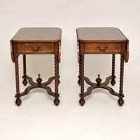 Pair of Antique Burr Walnut Drop Leaf Side Tables (5 of 12)