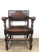 Set of Six Oak and Leather Dining Chairs (10 of 23)