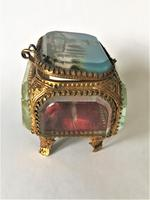 European Glass & Ormolu Scenic Trinket Box (3 of 7)