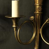 French Gilded Twin Arm Antique Wall Lights (6 of 10)