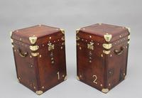 Pair of early 20th century leather bound ex army trunks (8 of 10)