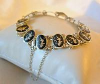 "Vintage Sterling Silver Enamel Bracelet 1960s Goddess of Love 7"" Length 9.1 Grams (2 of 12)"