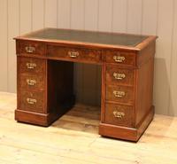 Late 19th Century Burr Walnut Pedestal Desk (2 of 11)