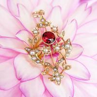 Antique 15ct Gold Garnet & Pearl Floral Pendant, Art Nouveau Victorian Pendant (2 of 5)
