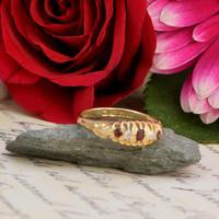 The Antique 1915 Three Garnet & Two Diamond Ring (2 of 5)
