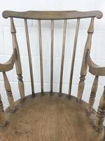 Early 20th Century Antique Beech Penny Seat Armchair (7 of 10)