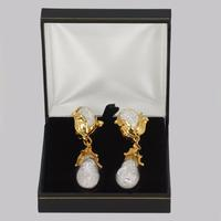"Yves Saint Laurent Earrings Rive Gauche Dangle 3"" Long Vintage YSL Glass Earrings (3 of 7)"