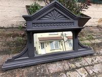 Antique Victorian Cast Iron Overmantle Mirror & Shelf (3 of 8)