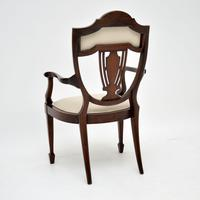 Antique Edwardian Inlaid Mahogany Armchair (4 of 11)