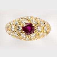Vintage French Ruby & Diamond Dress Ring c.1960 (5 of 6)
