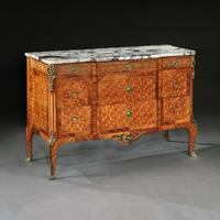 Late 19th Century French Gilt Bronze Mounted Tulipwood & Kingwood Marble Topped Commode