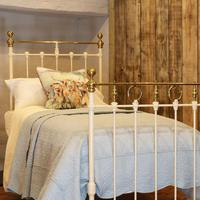 Cream Straight Top Rail Victorian Single Antique Bed with Brass Detailing (2 of 6)