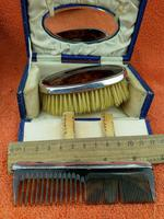 Antique Sterling Silver Hallmarked Cased Faux Tortoise Shell Brush & Comb Set with Mirror 1926 (9 of 12)