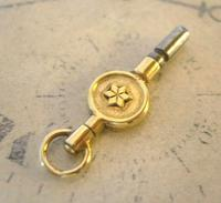 Antique Pocket Watch Chain Fob 1890s Victorian Brass Key Size 9 (3 of 10)
