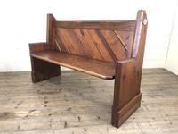 Antique Pitch Pine Church Pew with Enamel Number 37 (M-1639) (4 of 12)