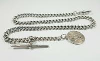 Beautiful Solid Silver Henry Allday Double Link Albert Chain & T BAR (8 of 12)