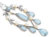 2.27ct Aquamarine, Diamond, Pearl & 14ct Yellow Gold Pendant - Antique c.1900 (4 of 9)