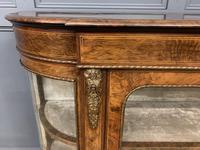 Victorian Burr Walnut Glazed Side Cabinet (5 of 15)