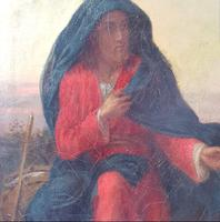 19th Century Oil on Canvas Double Sided Shepard. Jesus & Mary Magdalene (8 of 13)