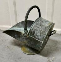 Large Arts and Crafts Shabby (verdigris) Copper Helmet Coal Scuttle (2 of 4)