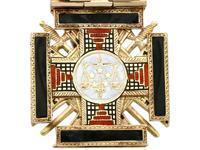 0.29ct Diamond, 0.20ct Ruby & Enamel, 12ct Yellow Gold Masonic Pendant / Watch Fob - Antique c.1900 (8 of 15)