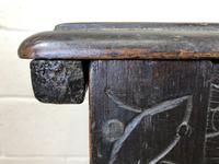 Antique 18th Century Carved Oak Coffer (M-1635) (7 of 13)