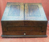 Antique Victorian Letter Sorter Writing Box Burl Walnut Veneer C1880s
