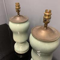 Pair of Art Deco Teal Blue Ceramic Lamps (8 of 8)