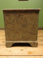 Large Antique Old Painted Green Distressed Pine Trunk Chest, Rustic Blanket Box (10 of 18)