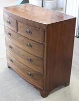 1880's Mahogany Bow Chest Drawers with Flame Veneer on the Drawers (3 of 4)
