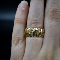 Antique Chunky Fancy Patterned 9ct 9K Gold Stacking Band Ring (3 of 8)