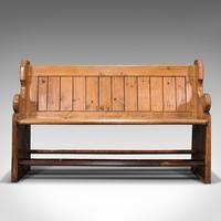 Antique Hallway Bench, English, Pine, Reception, Pew, Ecclesiastic, Victorian (2 of 12)