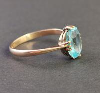Vintage Art Deco Blue Zircon Solitaire Ring, 9ct Gold (4 of 9)