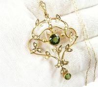 Antique Edwardian Seed Pearl Peridot Necklace (4 of 8)