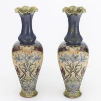 Pair of Tall Doulton Lambeth Art Nouveau Baluster Vases by Eliza Simmance c.1895 (7 of 12)