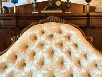 Stunning Quality Original 19th Century Carved Rosewood Cream Upholstered Sofa Settee (7 of 11)