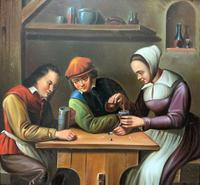 Early 19th Century Dutch School Drinking in a Tavern Oil on Panel Portrait Painting (3 of 11)