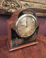 Antique Walnut Cased Chinoiserie Mantel Clock