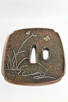 Fine & Heavy Signed Bronze Tsuba Overlaid with a Silver Heron (6 of 7)